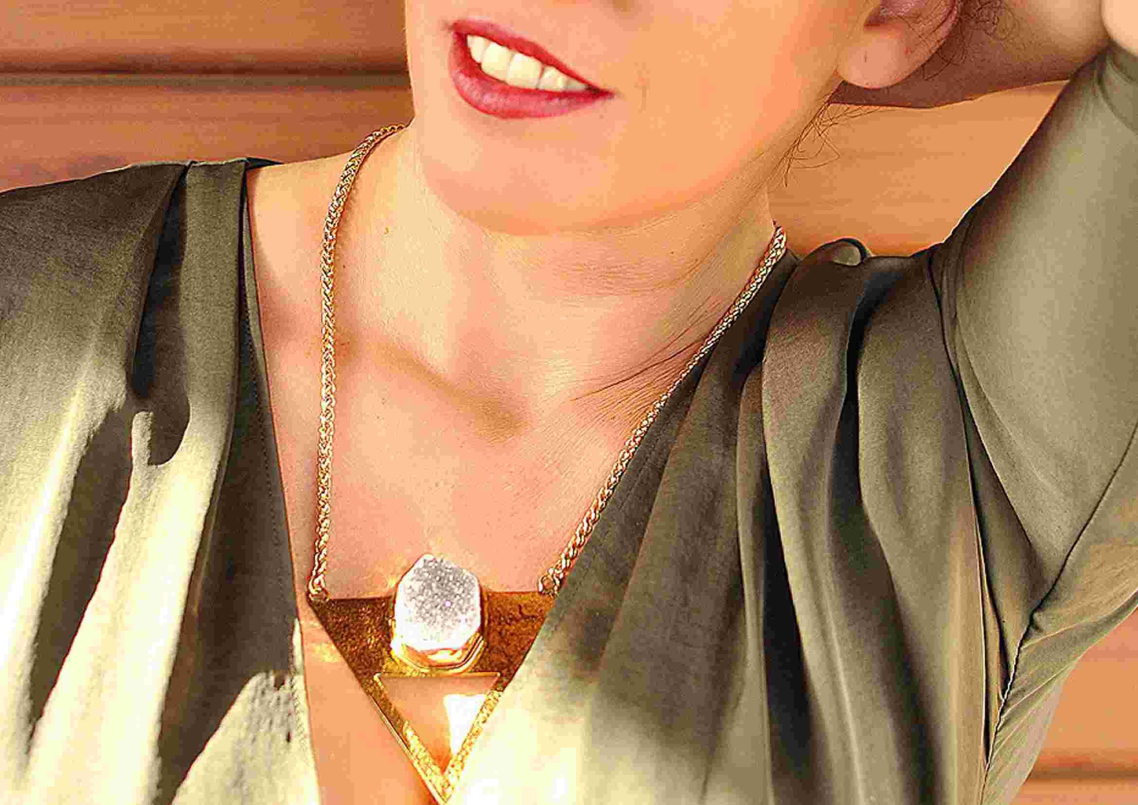 collar boho de geoda de agata fascini di pietra
