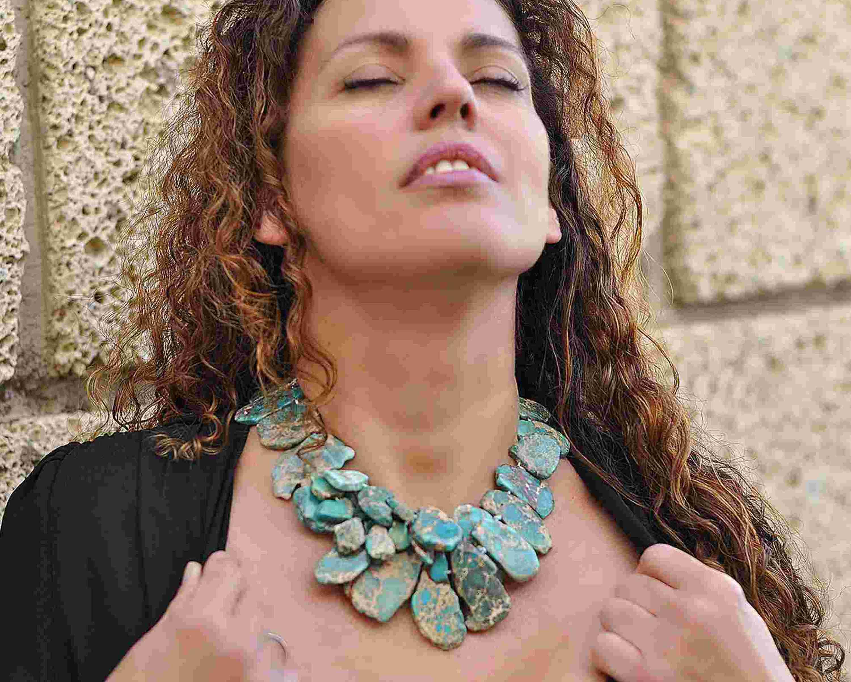 collar boho de turquesa