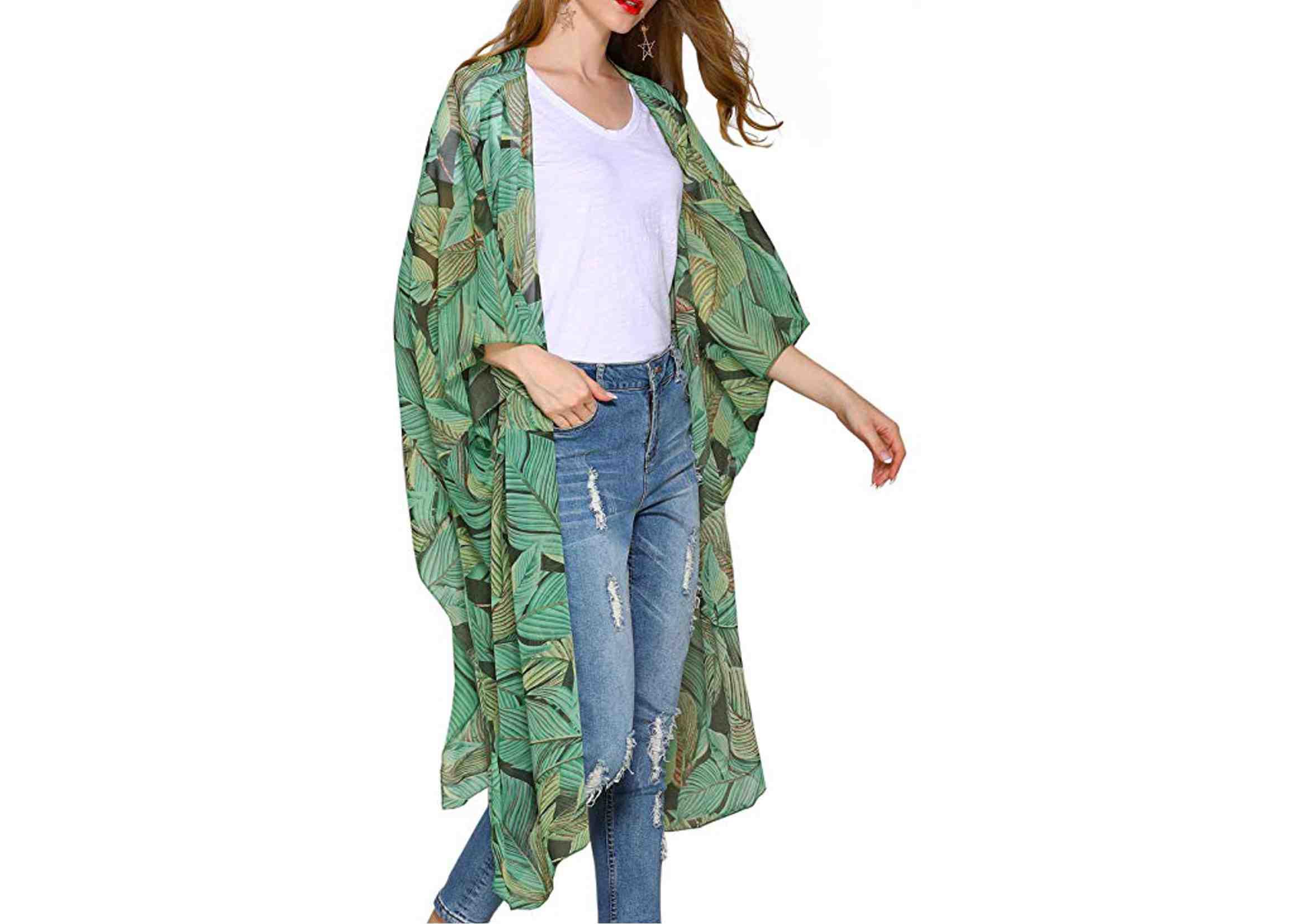 kimono boho chiffon floral verde