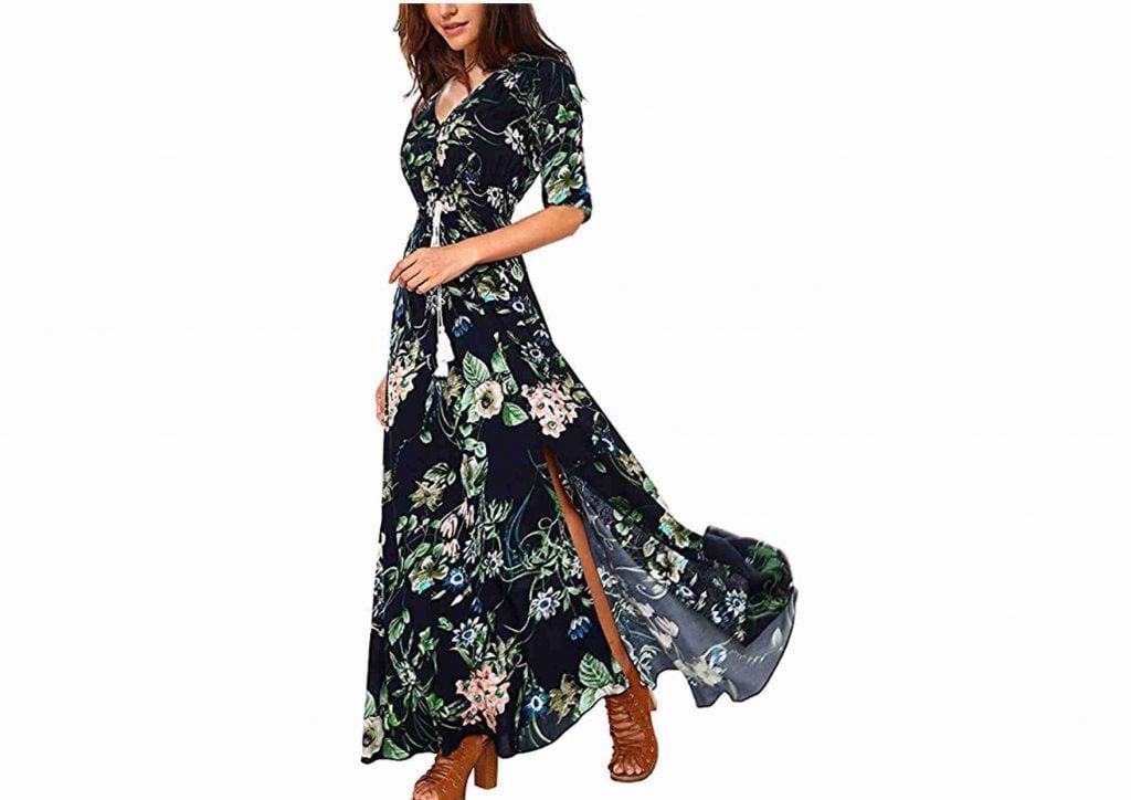 Vestido Boho Largo Estampado Floral