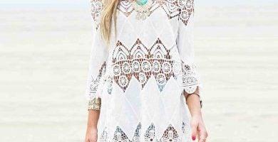 vestidos ibicencos cortos boho blancos