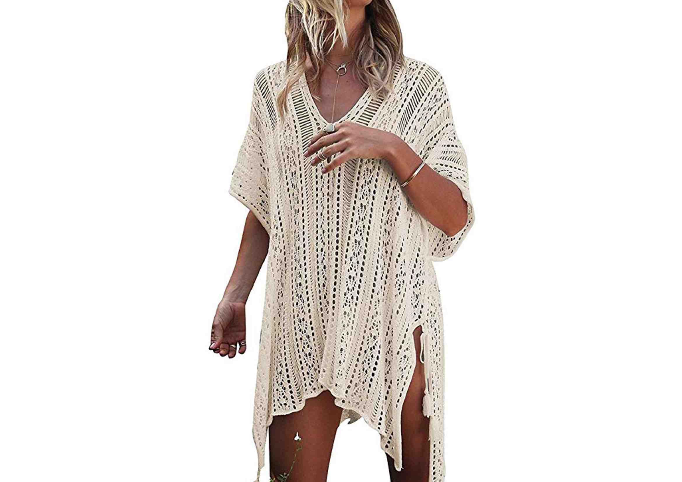 vestidos ibicencos cortos blancos playeros crochet