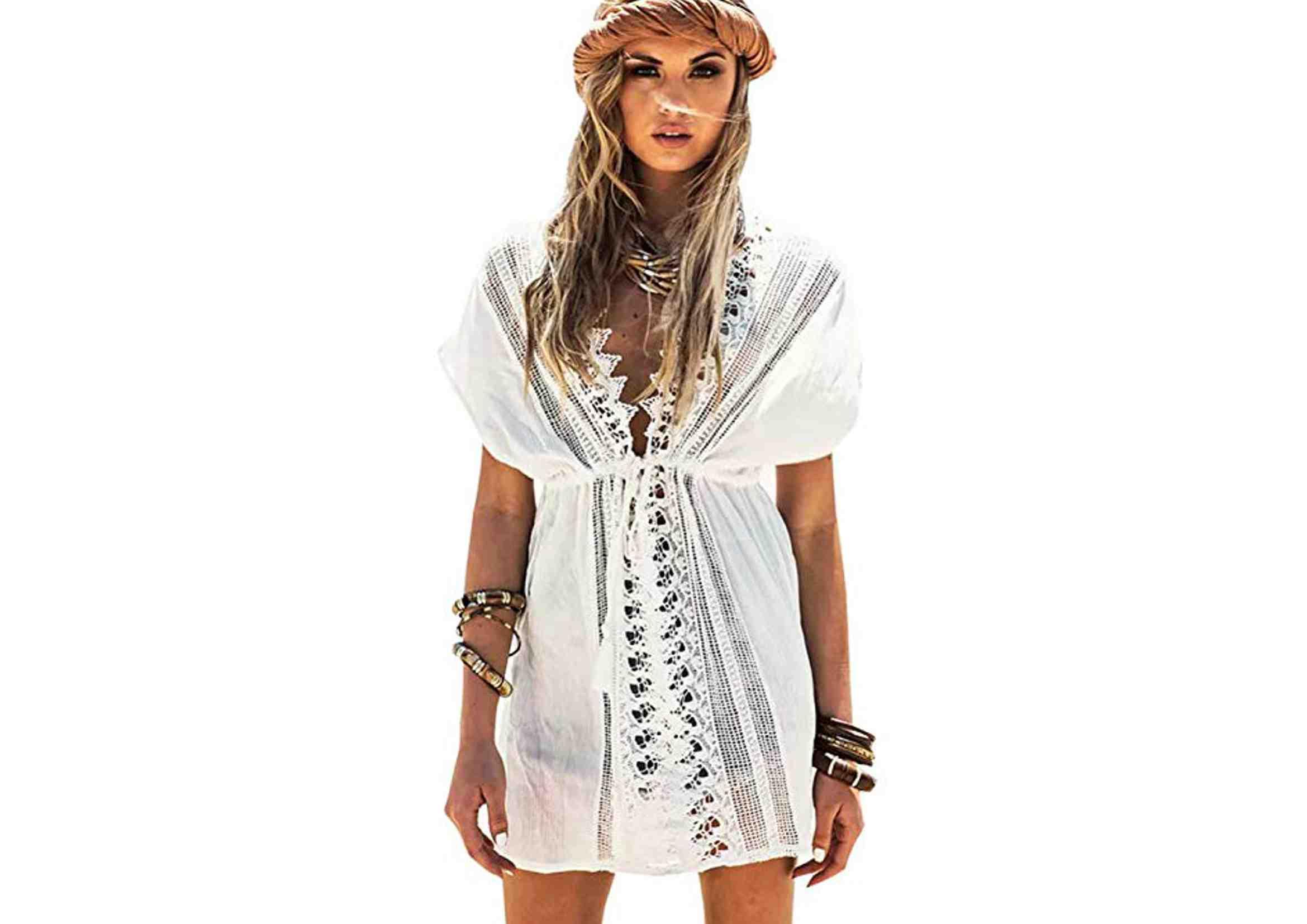 vestidos ibicencos cortos blancos playeros
