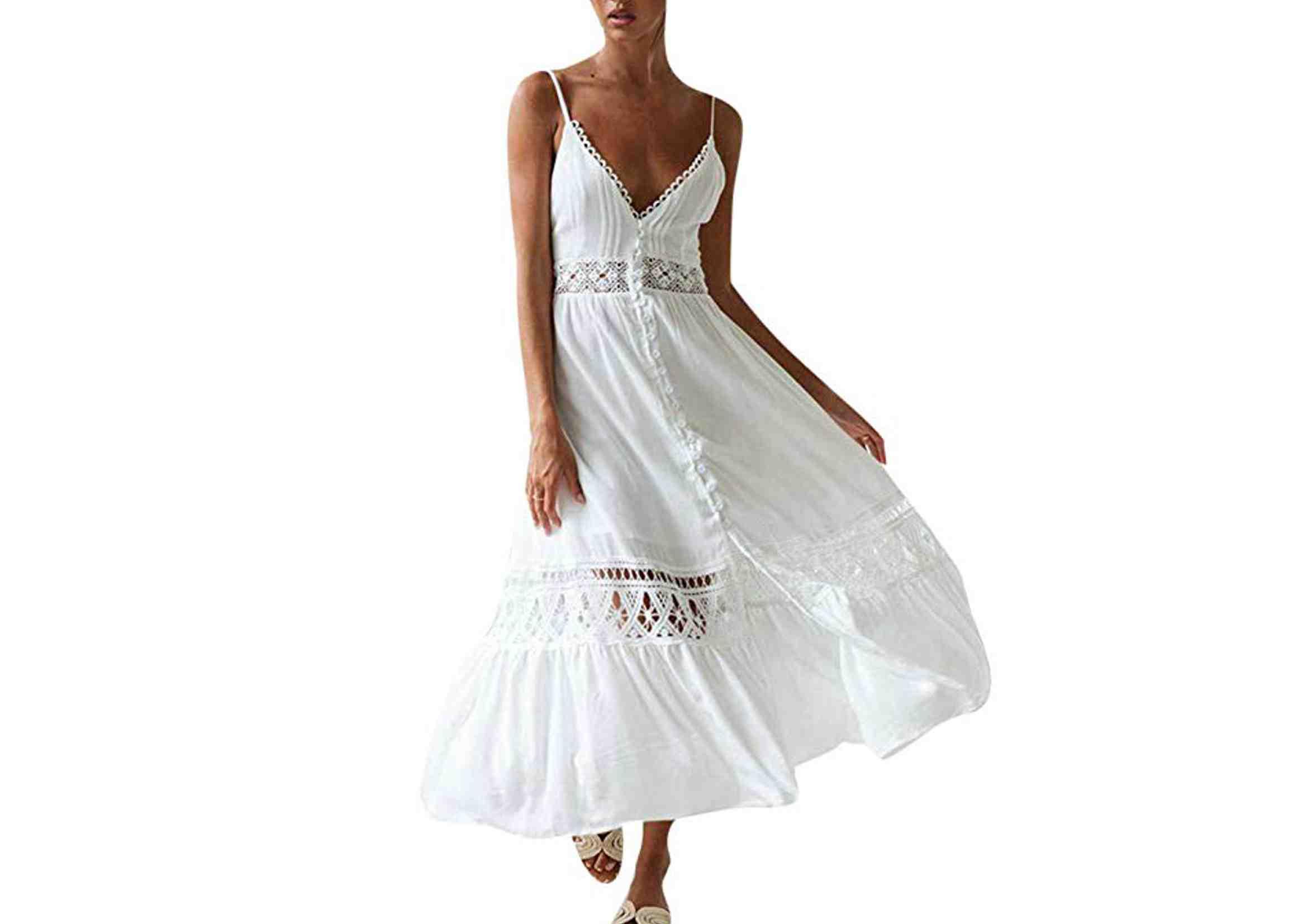 vestidos ibicencos largos blancos encaje crochet