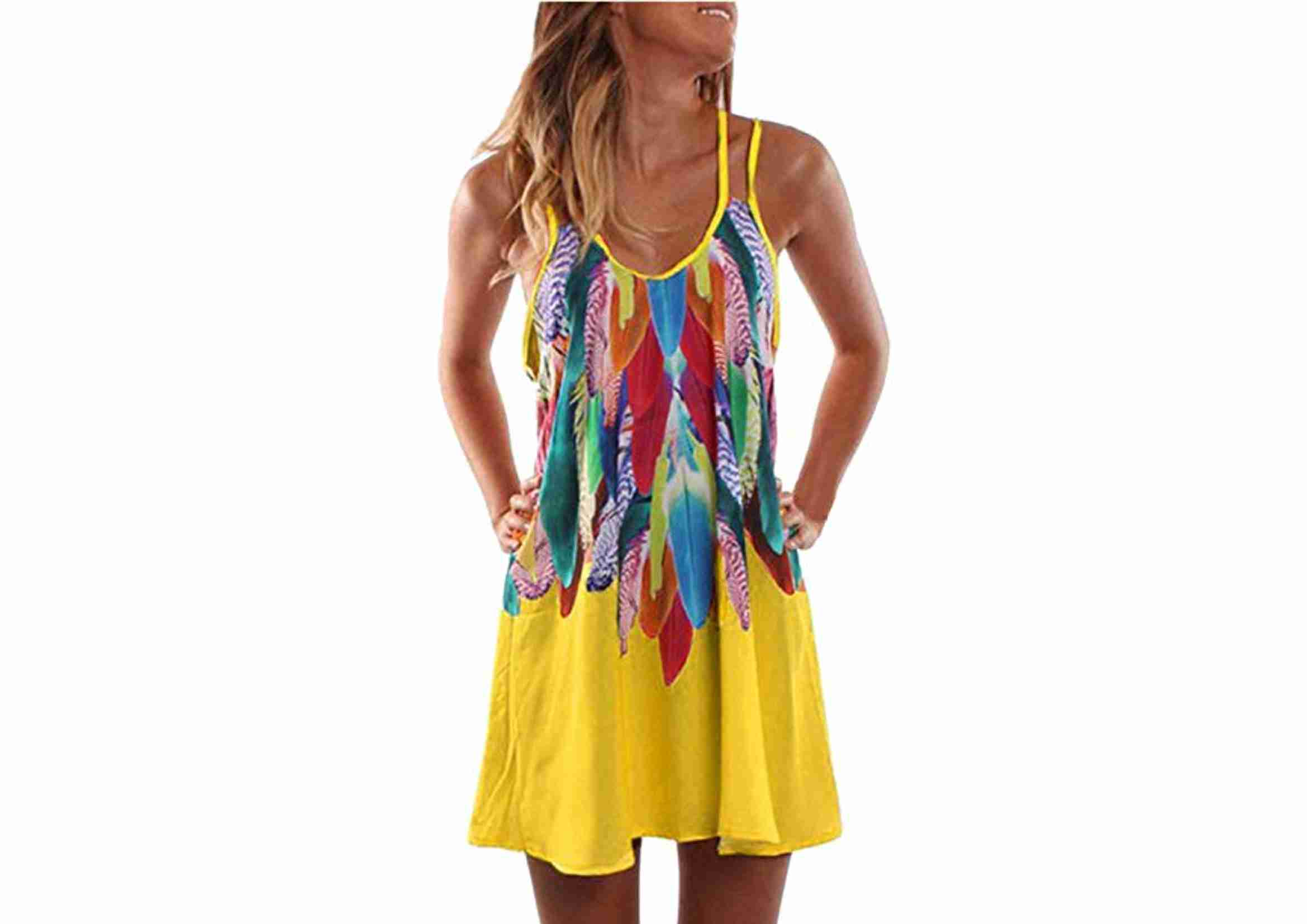 vestido playero plumas multicolor
