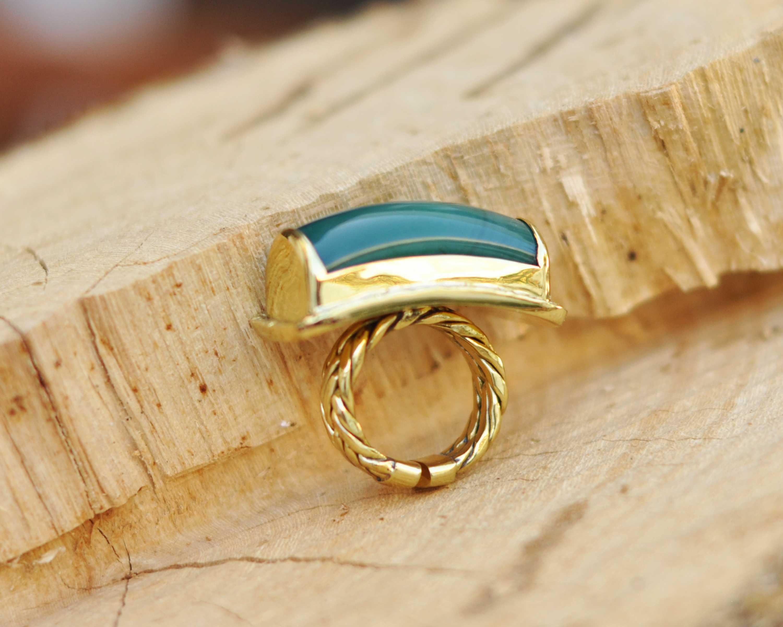 anillos de jade estilo boho compromiso