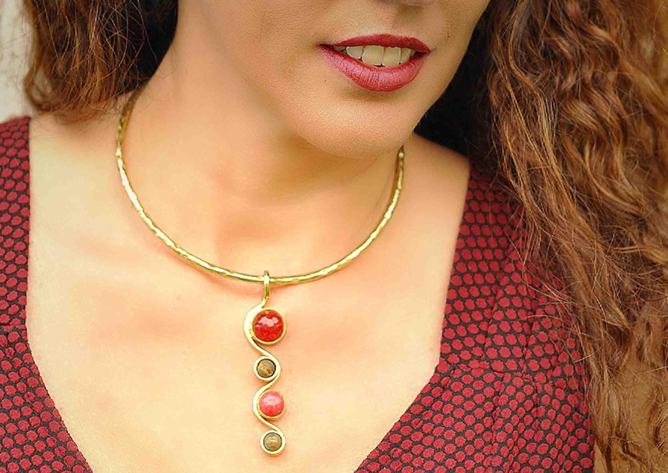 gargantilla de moda piedra natural agata 1
